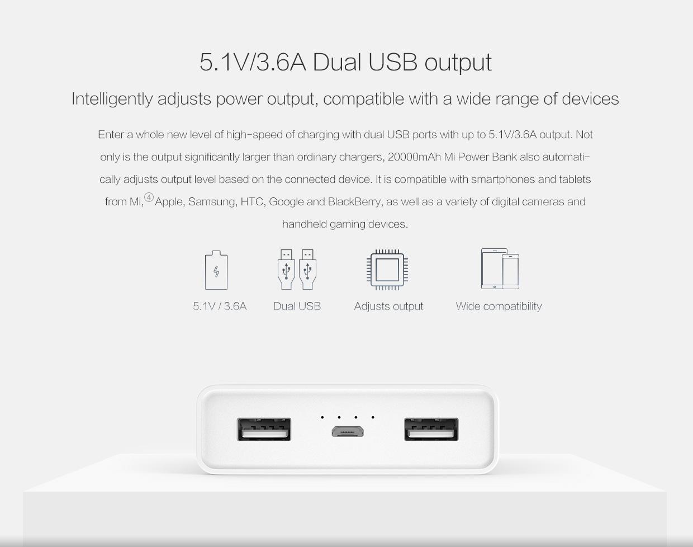 Xiaomi Mi Power Bank 20000mah Powerbank Dual Ports Original Reference Yddyp01