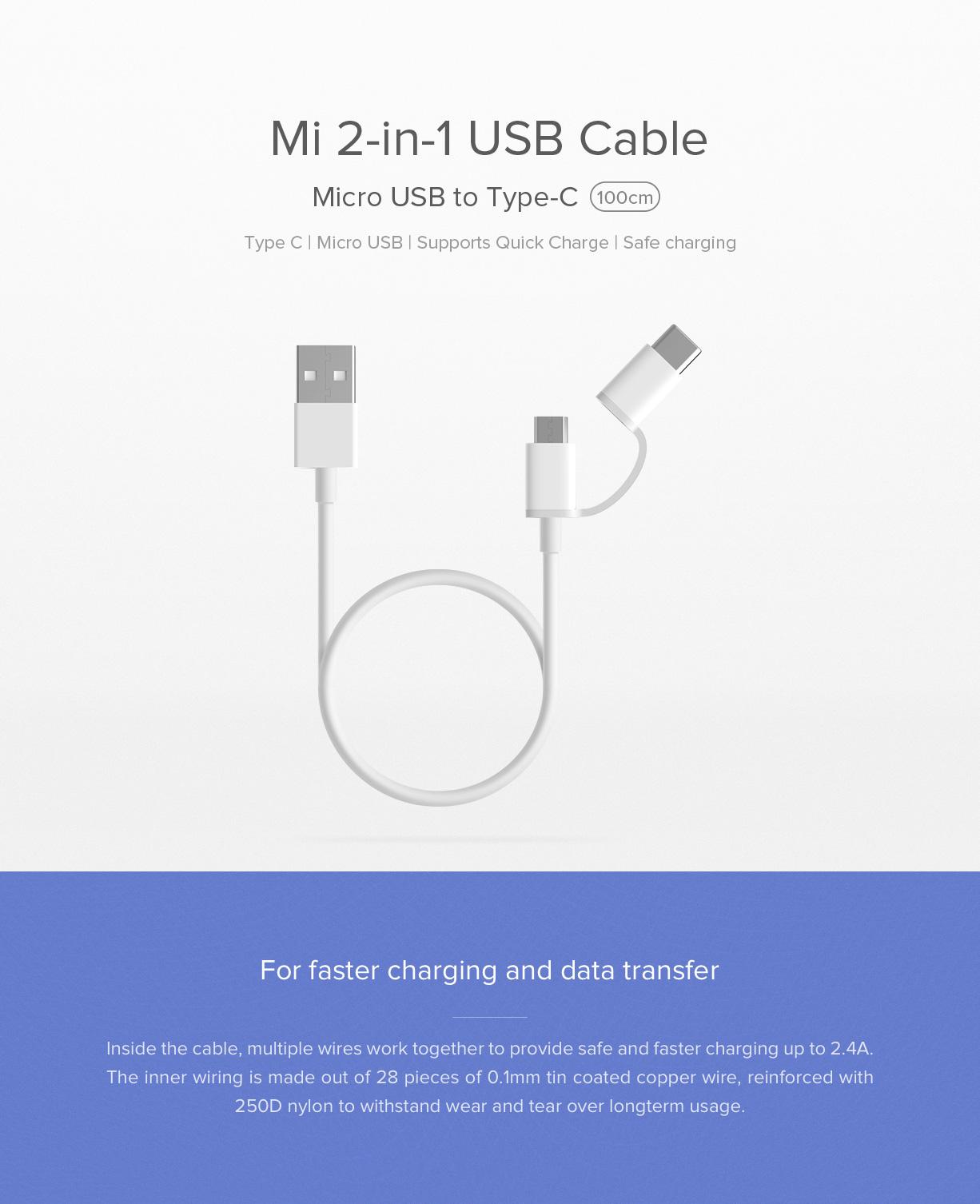 Mi 2-in-1 USB Cable - Chargers & Cables - Mi India