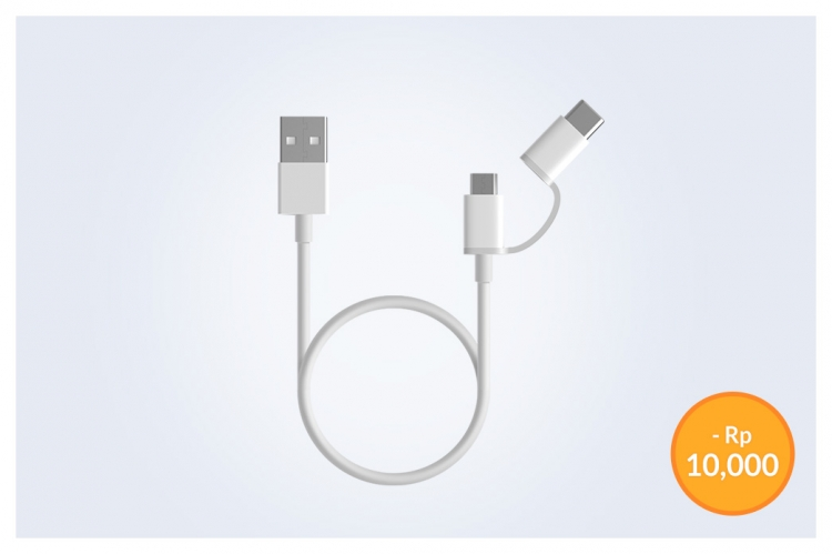 Xiaomi Mi 2-in-1 USB Cable (Micro USB to Type C)30 cm White
