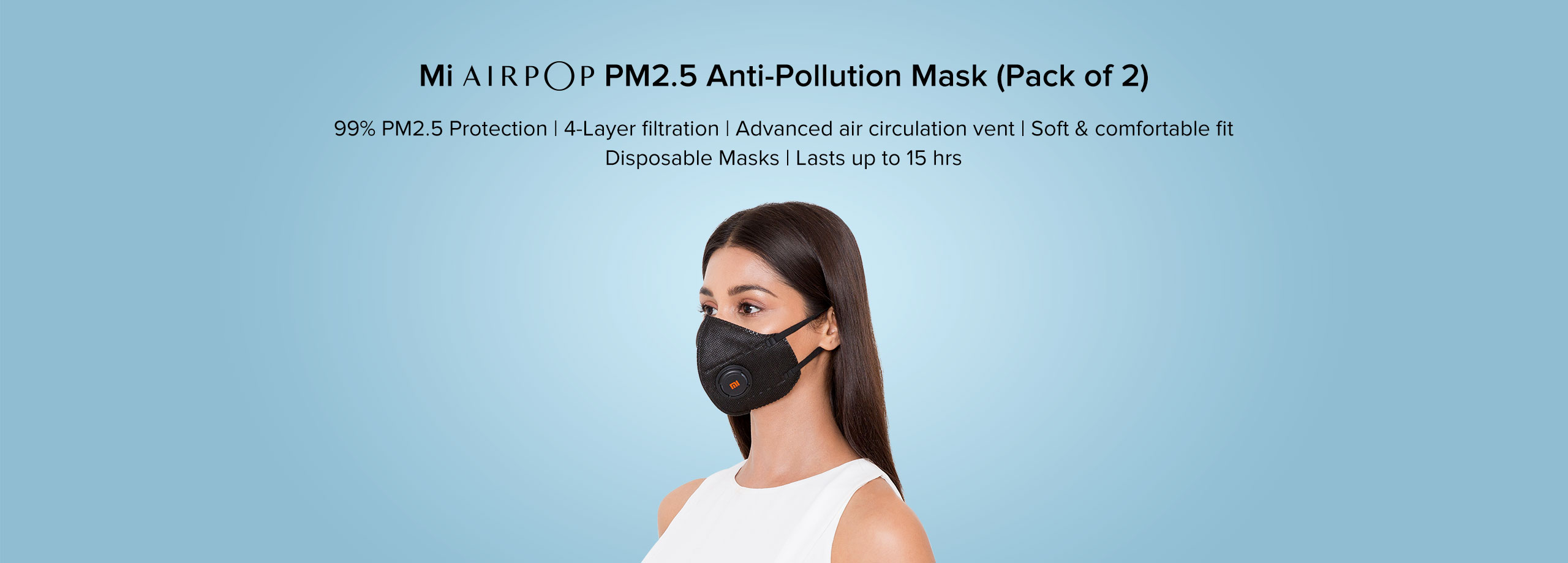 Mi AirPOP PM2 5 Anti-Pollution Mask(Pack of 2) - Lifestyle
