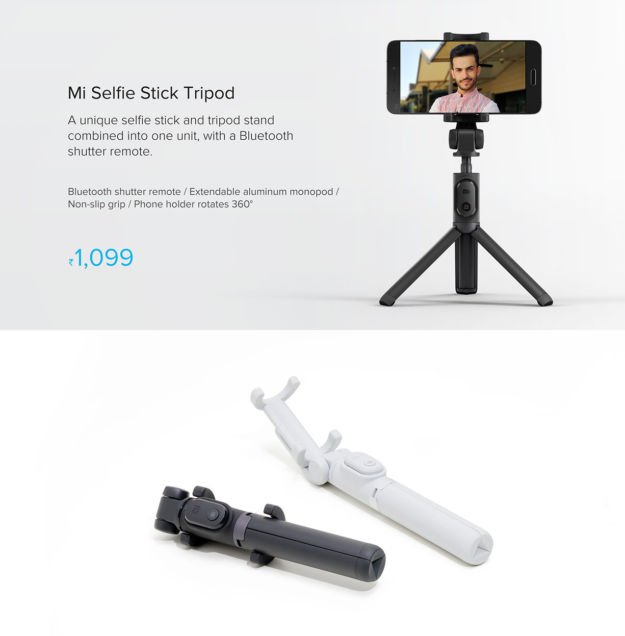 80f78b172ae1c9 Mi Selfie Stick Tripod (with Bluetooth remote) - Selfie Stick - Mi India